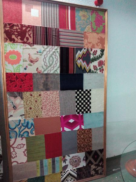 tapiz, con recortes de telas.